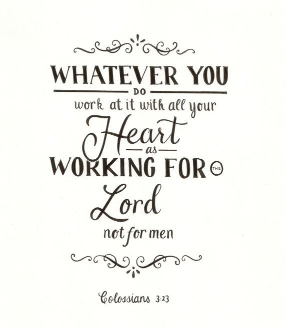 Colossians 3:23 Typography Art by PockefulOfSunshine on Etsy