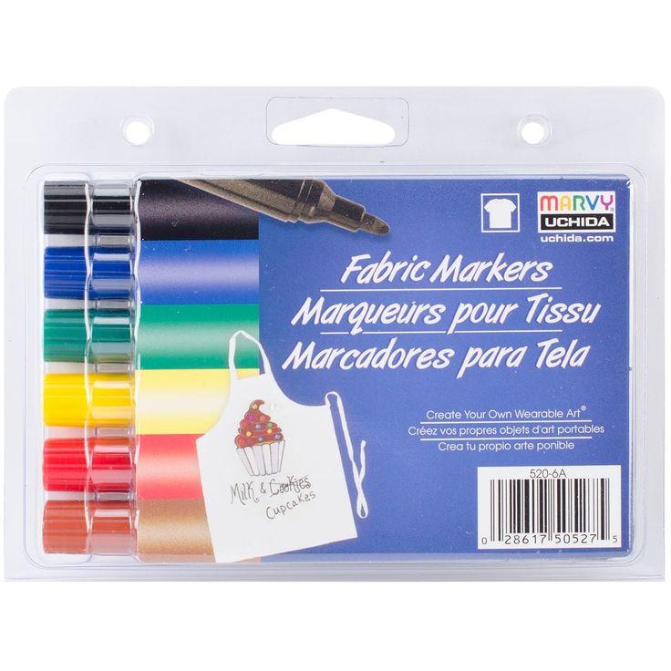 Uchida Fabric Markers Broad Tip 6/Pkg-Primary - primary