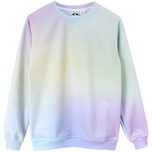 Pastel Princess Sweatshirt (£48) ❤ liked on Polyvore featuring tops, hoodies, sweatshirts, sweaters, shirts, knit shirt, rainbow tie dye shirt, pastel shirts, long sleeve knit shirt and long sleeve tie dye shirts