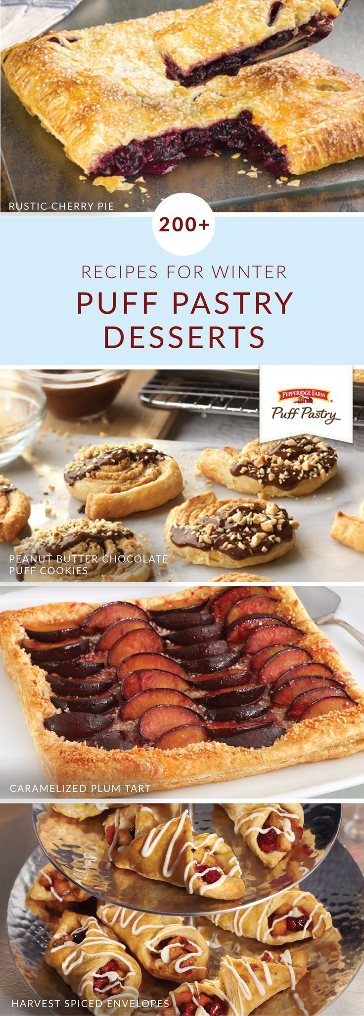 Satisfy your sweet tooth with a little help from this collection of Puff Pastry desserts for winter. Indulgent recipes like Apple Roses, Peanut Butter Chocolate Puff Cookies, and S'Mores Sandwich Swirls ensure that you'll always have a tasty way to celebrate during the upcoming holiday season. Click here to learn more.