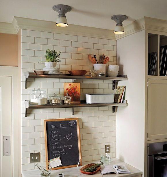 Subway tile in the kitchen: Bathroom Design, Kitchens Shelves, Kitchens Design, Open Shelves, Lights Fixtures, Metals Shelves, Kitchens Ideas, White Subway Tile, White Kitchens