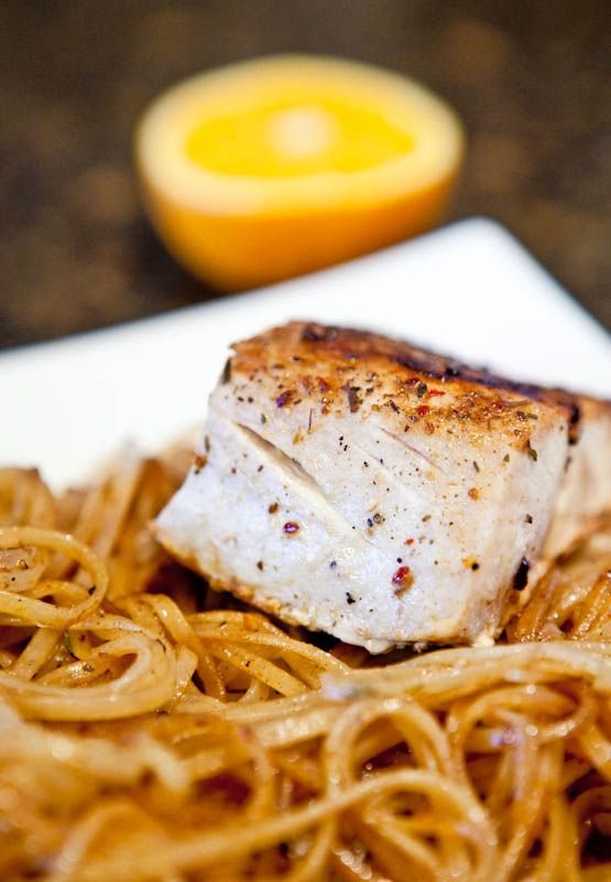 Averie Cooks » Caribbean Citrus Mahi Mahi with Brown Rice Noodles