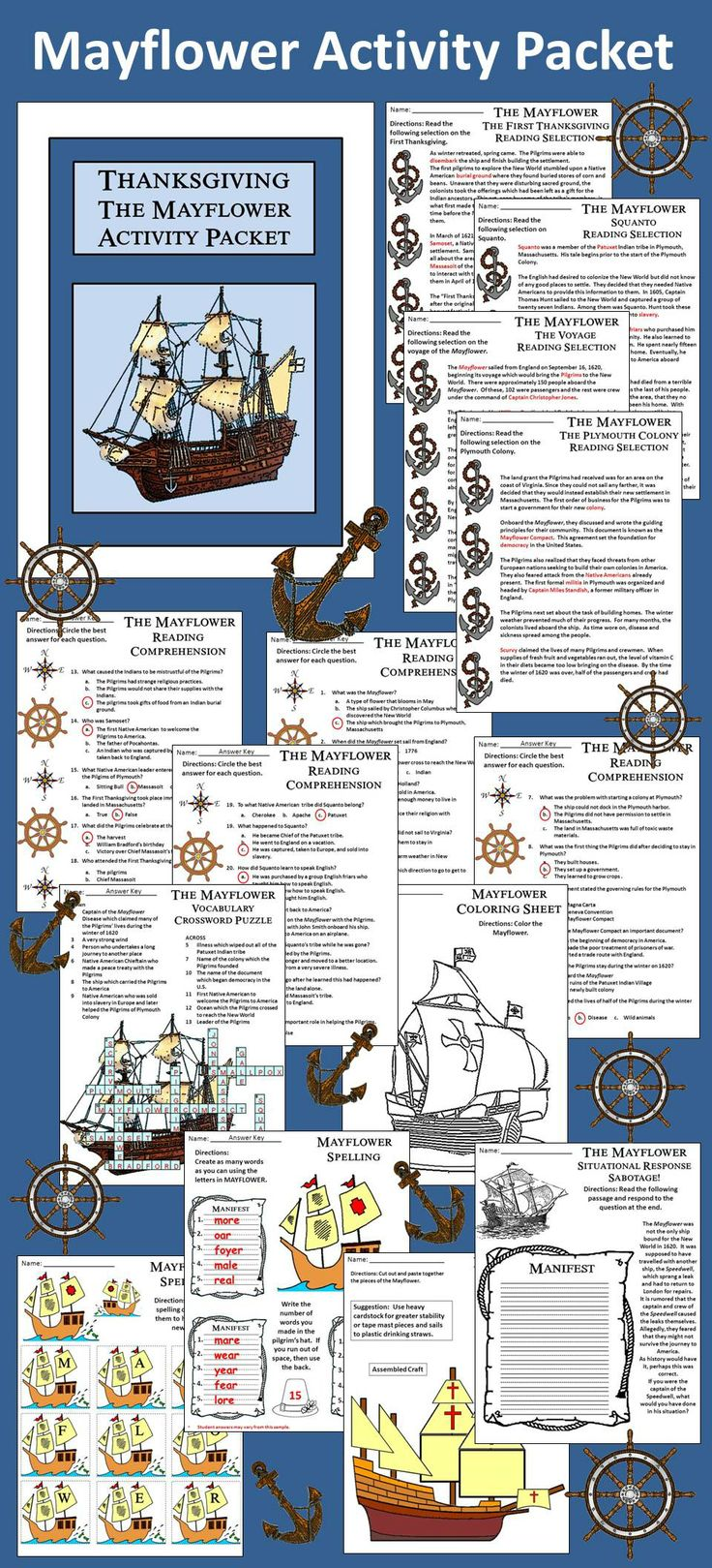 Mayflower Activity Packet: This colorful activity packet details the history of…