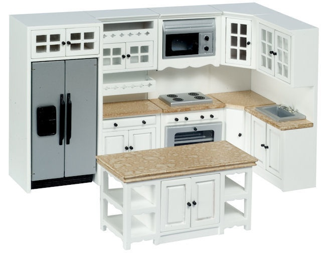 Miniature White Marble Kitchen Set From Our Selection Of Dollhouse Sets The Miniatures You Need To Build Or Furnish Your