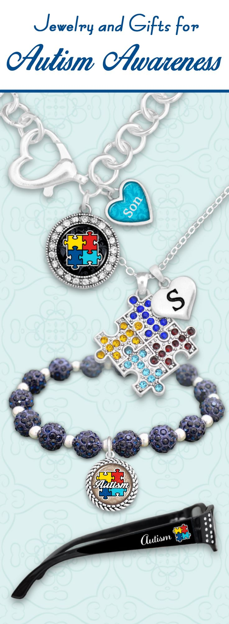 Custom items for Autism Awareness - $9.98! Jewelry with custom initials, loved ones, and even custom strength reading glasses! Celebrate your loved ones with our Autism Awareness collection - PLUS 30% of profits from these items is donated Autism research and advocacy!