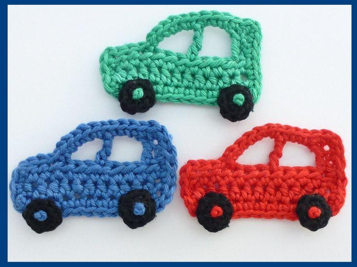Aplique de Crochê em Carros  -  /     Apply to Crochet upon Cars -