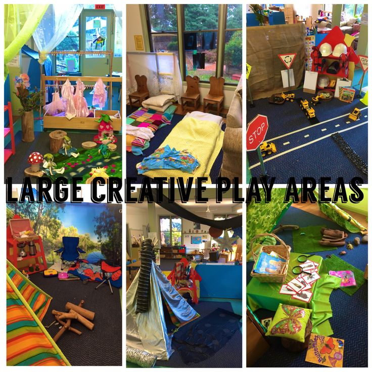 Large creative play spaces. Fairy grotto, hospital, transport,camping,space and insects.
