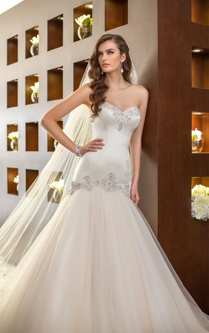 Essense of Australia form fitting wedding dresses feature a fit and flare Dolce Satin and Tulle design. (Style D1571)