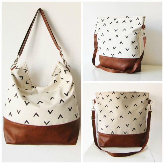Geometry Hobo Bag Crossbody Bag Canvas and vegan Leather door byMART