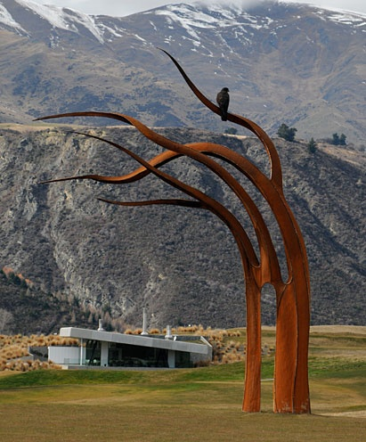 Kelp / Mark Hill - Sculpture Park - The Hills, Queenstown New Zealand clubhouse in background.