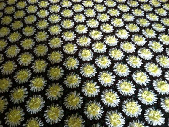 Vintage Daisy Flower Loom Yarn Blanket 48x50 by AshleyEnzoBernard, $45.00