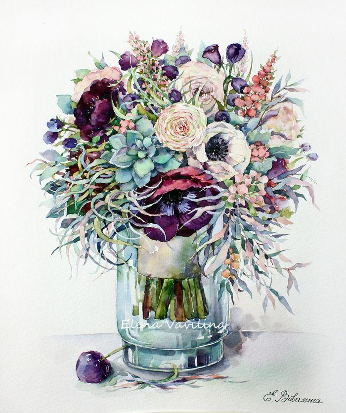 Просмотреть иллюстрацию Букет с лиловыми анемонами из сообщества русскоязычных художников автора Елена Вавилина в стилях: Академический рисунок, графика, живопись, Живопись, Классика, нарисованная техниками: Акварель.
