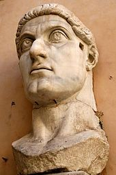 Head of Constantine's colossal statue at the Capitoline Museums. The original statue of marble was acrolithic with the torso consisting of a cuirass in bronze.