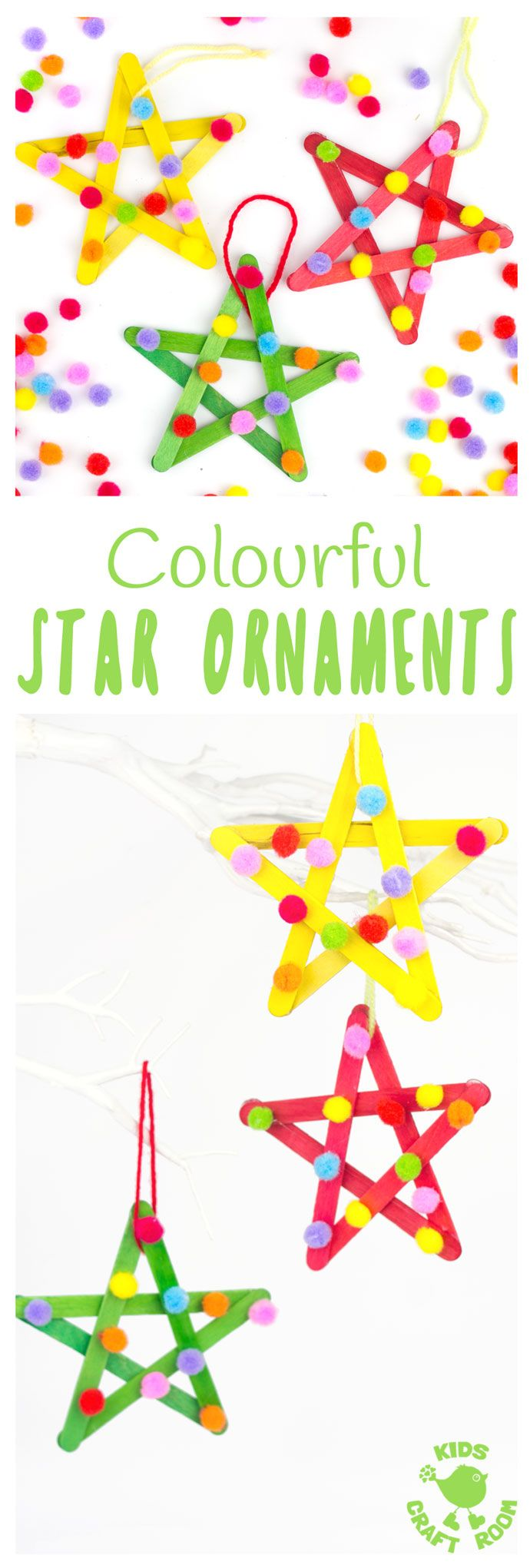 STAR ORNAMENTS - This colourful pom pom popsicle stick craft will look amazing hanging on your Christmas tree or as a bright and cheery star craft for a bedroom or nursery all year round. An easy and pretty Christmas craft for kids. #stars #starcraft #popsiclestickstars #popsiclestickcraft #christmascraft #popsiclestick #craftsticks #kidscrafts #craftideasforkids #kidschristmascrafts #easykidscrafts #easycrafts #kidsactivities #pompoms #pompomcraft via @KidsCraftRoom