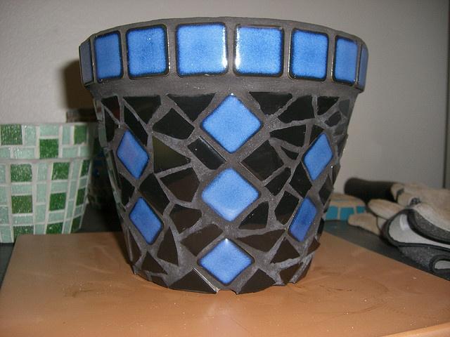 Bruised??? Black and Blue Mosaic Pot by crystalynna, via Flickr