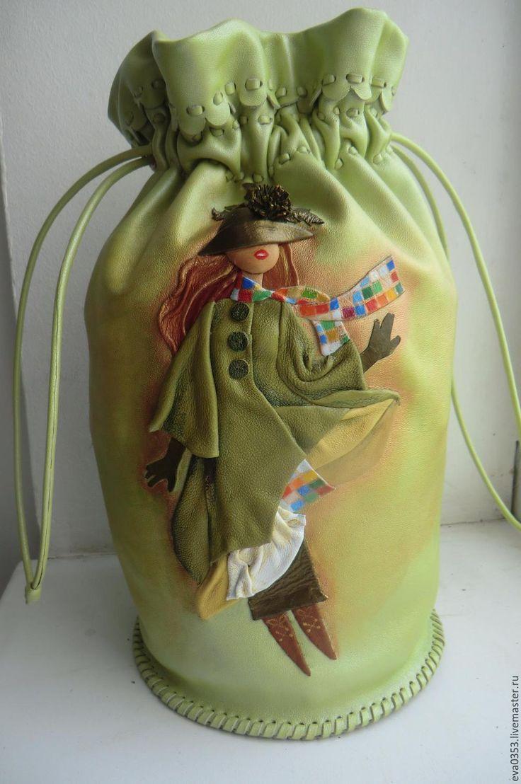 Купить Косметичка из кожи - зеленый, рисунок, кожа, косметичка, сумка ручной…