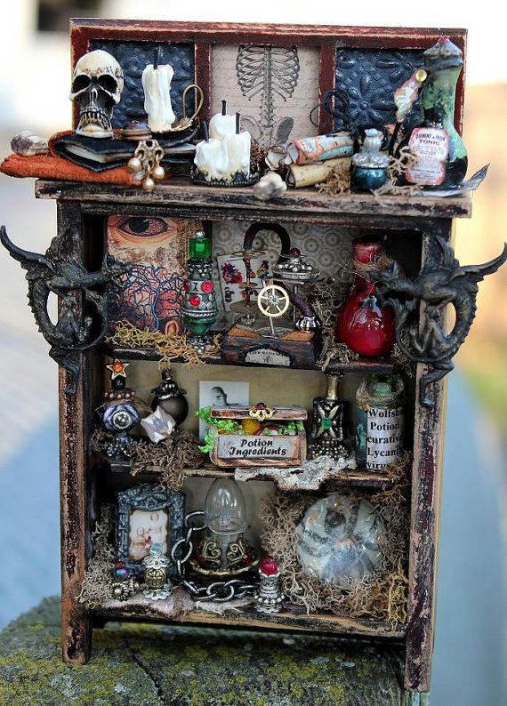 Dollhouse Miniature Gothic Curiosity Witch  by 19thDayMiniatures  https://www.etsy.com/listing/111026997/dollhouse-miniature-gothic-curiosity