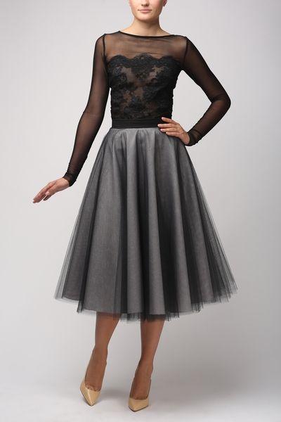 Bluzka z tiulu elastycznego i koronki B065 czarna - Fanfaronada - Bluzki z długim rękawem