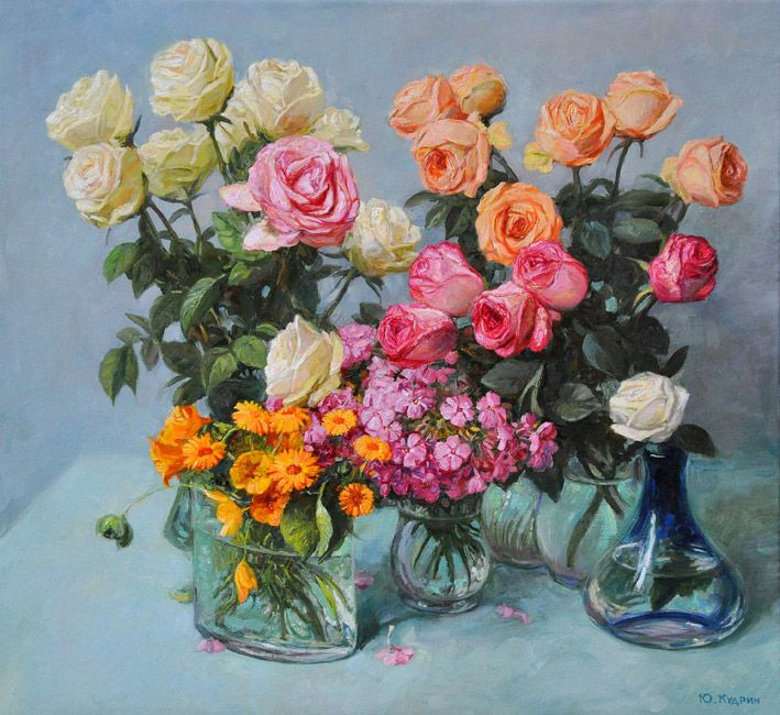 "Kudrin Jury,  ""Flowers for birthday"", canvas, oil, 60x55 cm, 2014  http://www.art-helicon.ru/eng/asp/artist/art142.asp"