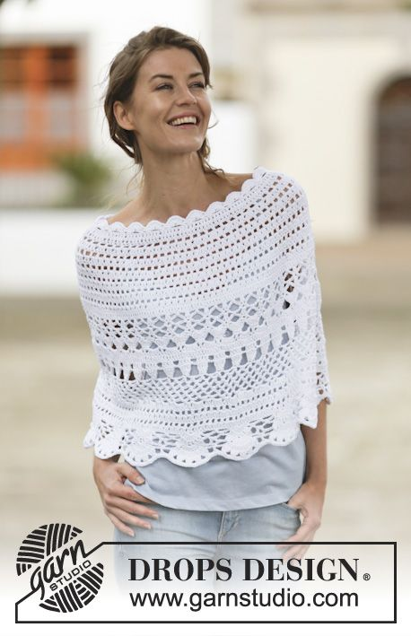"""Crochet DROPS poncho with lace pattern in """"Belle"""". The piece is worked top down. Size: S - XXXL. Free pattern by DROPS Design."""
