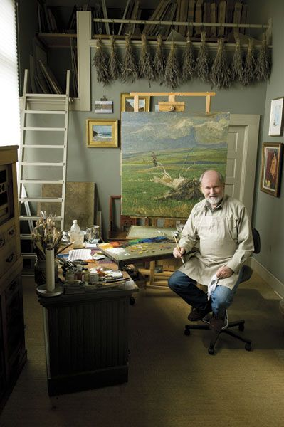 George Carlson's painting studio had previous lives a church and later a Masonic lodge. Look at those bundles of lavender and the giant loft for storing paintings.