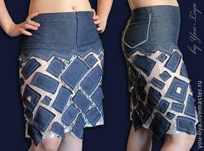 Юбки ручной работы. Ярмарка Мастеров - ручная работа Джинсовая юбка с гипюром. Handmade.