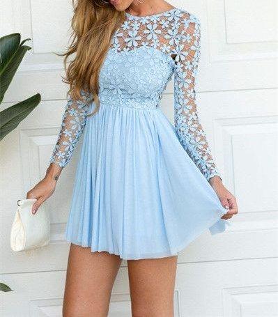 Sexy Backless Homecoming Dress,Blue Lace Chiffon Dress ,2016 New Style Customized Prom Dress