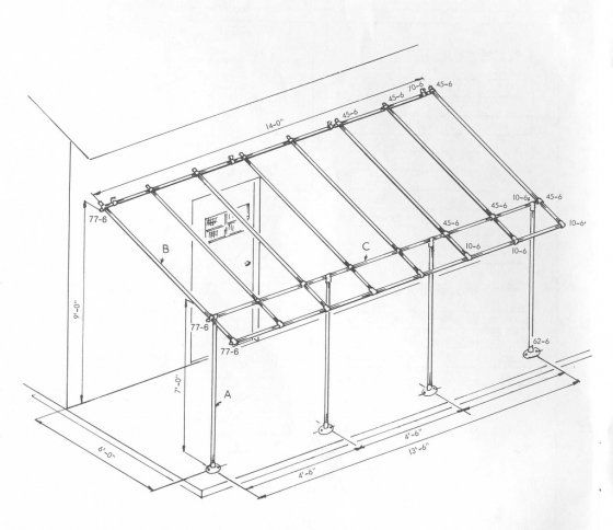 Awning frame using kee klamp fittings simplified for Pvc pipe shade