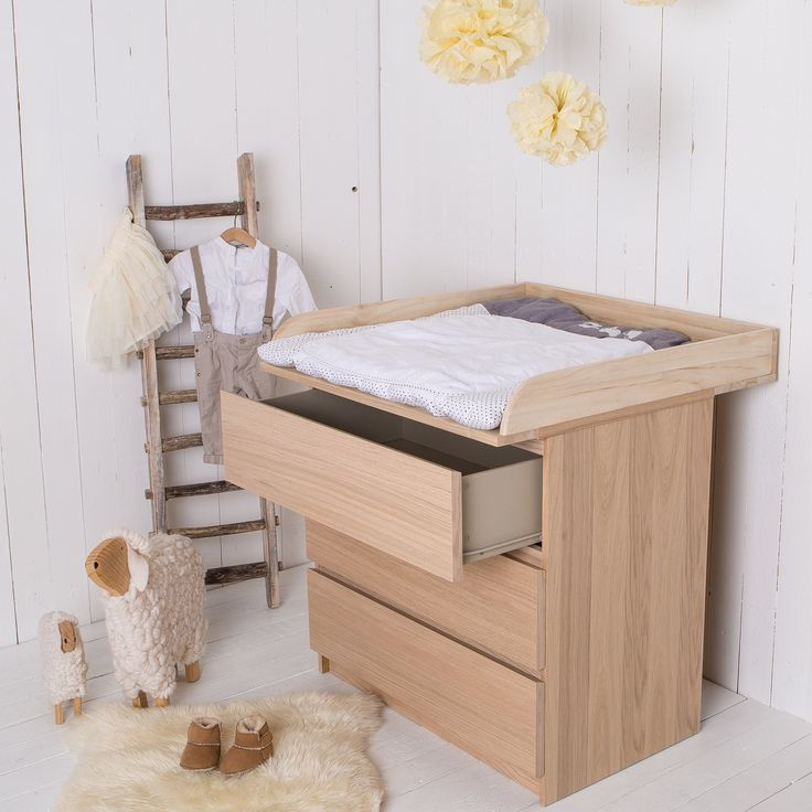 Table langer fixation top en bois naturel pour commode for Commode table a langer bebe