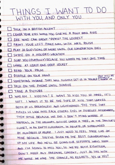 Things I want to do with you & ONLY YOU