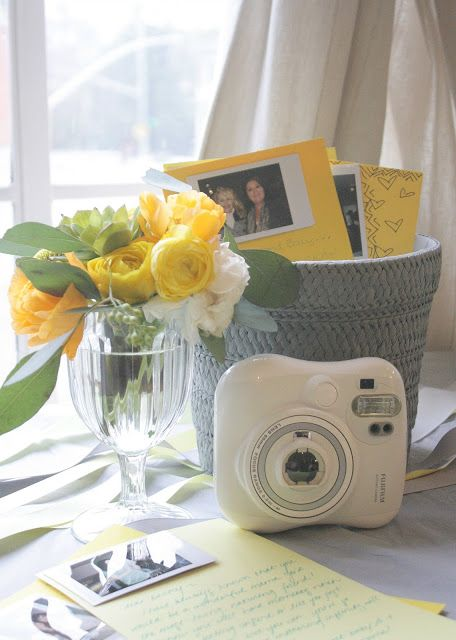 """One of my favorite parts of the shower was a station set up for photo-taking and letter writing. I asked the guests to take a photo of themselves using my InstaxInstantCameraand then address a little letter starting with """"Dear Mama"""" or """"Dear Baby""""."""