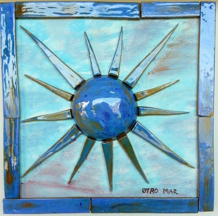 handmade ceramic sun wooden hand-painted base and ceramic frame 30 x 30 cm
