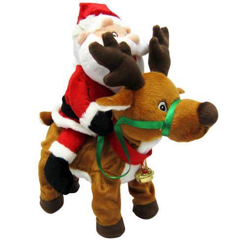 """13"""" MOVING Santa Riding WALKING Reindeer MUSICAL Plush"""