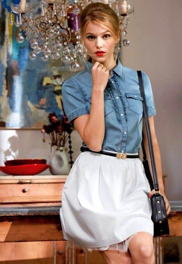 17 meilleures id es propos de tenues de jupe en jean sur - Avec quoi porter une chemise en jean ...