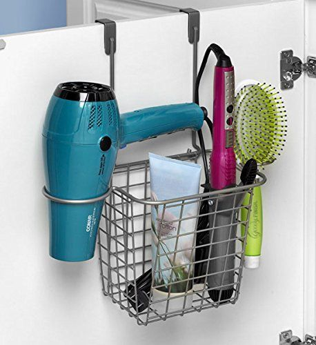 Organize and hide your hair appliances, like your hair dryer, curling iron and more using a Spectrum over cabinet door hair tool storage basket {featured on Home Storage Solutions 101, plus 9+ other hair appliance holder ideas}