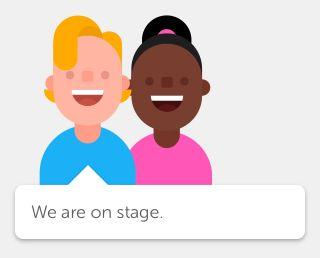 """Ahora puedo decir """"Estamos en el escenario"""" en inglés. ¡Gracias Duolingo!"""
