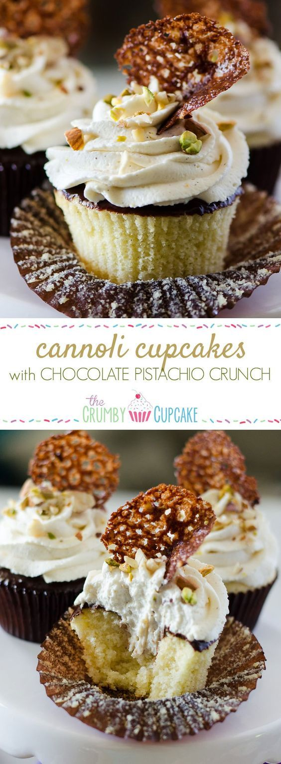 Cannoli Cupcakes with Chocolate Pistachio Crunch | Holy cannoli, what a cupcake! These vanilla-almond Cannoli Cupcakes are stuffed and topped with a classic sweet ricotta filling, glazed with a layer of chocolate ganache, and garnished with some pretty fancy food art. #SundaySupper #JuneDairyMonth @floridamilk