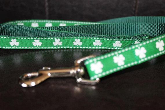 6' Green Shamrock St Patrick's Day Dog Leash 5/8 by MarysBigSheep, $30.00
