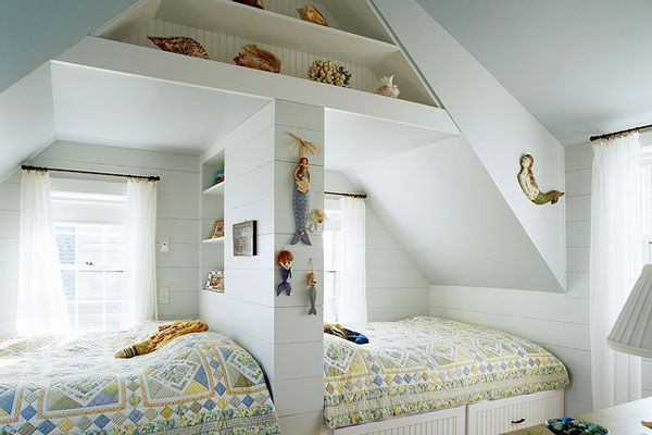 30 Girls Bedroom Ideas!  Separate with a bookshelf? Cool!