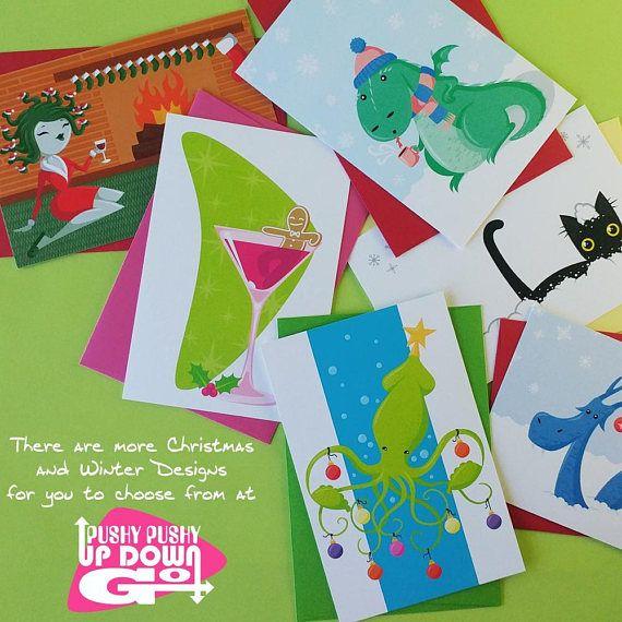 Funny Christmas Kraken Ocean Theme Holiday Cards Set ...