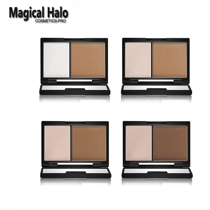 Kualitas tinggi magical halo bronzer highlighter 2 warna contour shading powder mencerahkan bubuk shading mirror 3d wajah makeup 55g