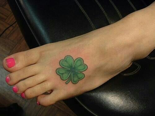 4 leaf clover foot tattoo   tattoos   Pinterest   Clovers ...