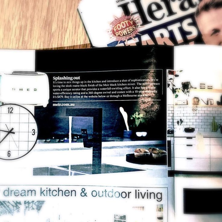 """Did you notice us in today's Herald Sun newspaper? The editor fell in love with our kitchen mixer and featured it within the """"Home"""" section of the paper.  #heraldsun #meir #meirblack #MeirAustralia #homemagazine #homemag #blacktapware #homerenoideas #australianarchitecture #melbournearchitecture #modernarchitecture"""