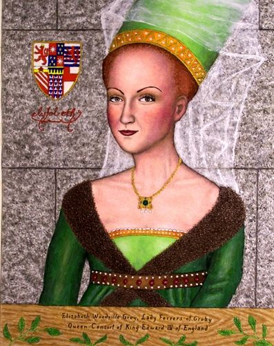 Elizabeth Woodville 1437 - 1492 - Queen consort of England as spouse of King Edward IV. She was the first commoner to marry an English sovereign. Well known for her participation in a series of civil wars known as the War of the Roses.