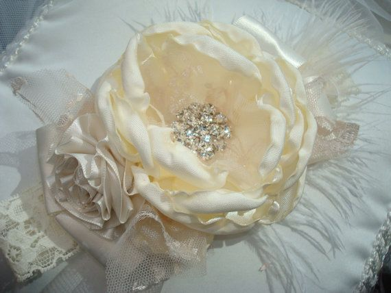 All Cream Couture Baby Headband Baby Flower by lepetitejardin, $25.95