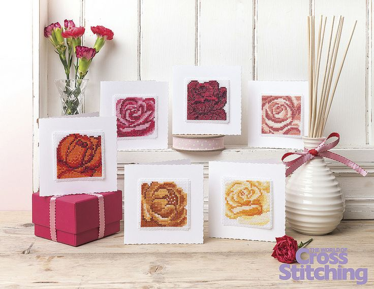 Rose cards- find all six ideas for simple but striking greetings that are oh-so-simple to make! Created by the Zweigart design studio, find the patterns in our issue 219 of The World of Cross Stitching magazine