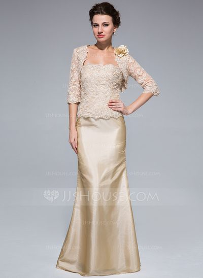 Mother of the Bride Dresses - $142.99 - Trumpet/Mermaid Strapless Floor-Length Taffeta Lace Mother of the Bride Dress With Beading (008018959) http://jjshouse.com/Trumpet-Mermaid-Strapless-Floor-Length-Taffeta-Lace-Mother-Of-The-Bride-Dress-With-Beading-008018959-g18959