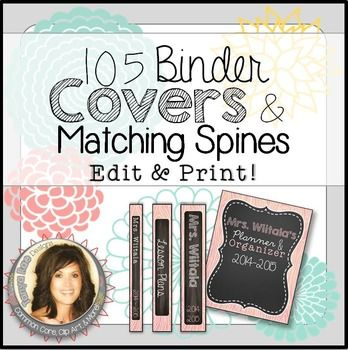 105 Binder Covers & Matching Spines. Just edit and print!