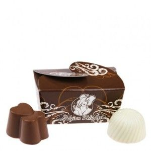 A shipper of 63 Twin Pack Belgian Delights. Gorgeous twin pack boxes filled with two mini (10g) chocolates.