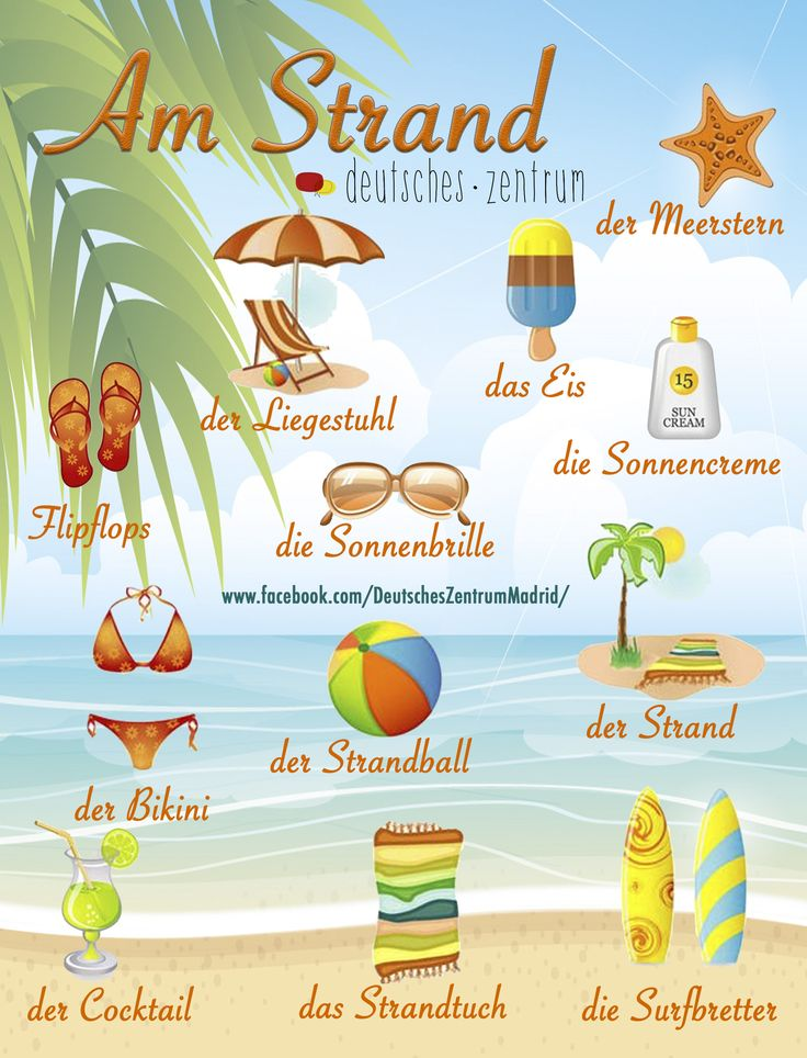 Urlaub Strand Deutsch Wortschatz Grammatik German DAF Alemán Vocabulario